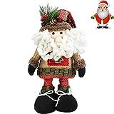 Superora Navidad Muñeca de Pie Santa Papá Noel Muñeca de Nieve Figura Decorativa Regalo para Niños Decoración de Mesa Adornos Hogar