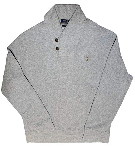 Polo Ralph Lauren Mens Shawl Neck Estate Rib Sweater Pullover (XL, Grey Heather)