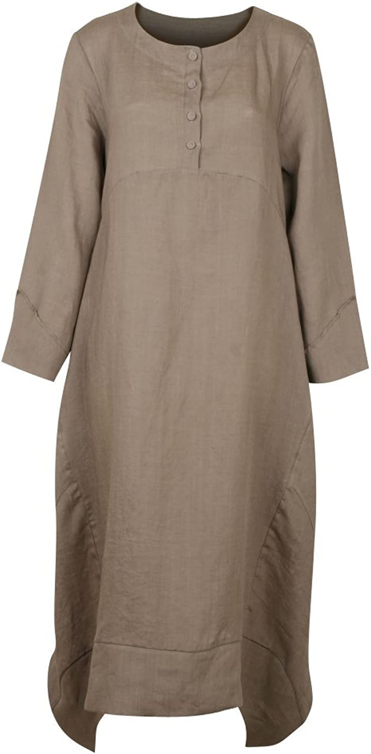 Ililily Covered Flat Button Detail Dress Loose Fit Linen Long Casual Dress