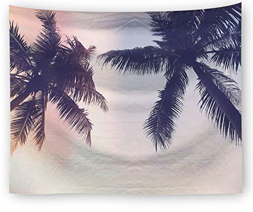 N / A Summer Beach Tapisserie Wandhalterung Psychedelic Blue Sky Sunshine Tapisserie Palmblatt Home Decoration Rechteckige Wandkunst Home Art Deco Tapisserie A5 130x150cm