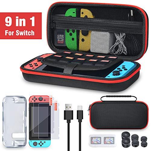 スイッチ ケース BEBONCOOL Switch 9in1 アクセサリー セット ニンテンドースイッチ ケース Nintendo Switch 対応 保護カバー Switch ケース 持運便利 大容量 収納バッグ 防水 防汚 耐衝撃 全面保護 ニンテンド