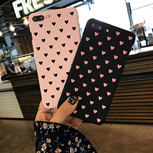 JGFDVBBNM Funda de cueroHeart Mobile Phone Case for iPhone 6 6s Plus 7 8 Plus 5 5s SE X XR XS MAX Love Element Style Case for Girls Female Back Cover,Black, for iPhone XS MAX