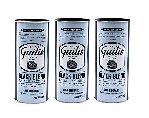 CAFES GUILIS DESDE 1928 AMANTES DEL CAFE Café en Grano Natural Black Blend de Tueste Natural - Pack 3 Latas 250 gr
