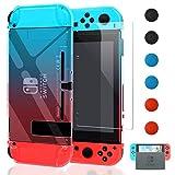 YUANHOT Andockbare Schutzhülle mit Displayschutz,verbesserte Version für Nintendo Switch Rot/Blau Klar