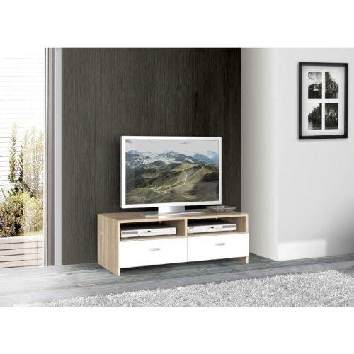 BINGO Meuble TV Blanc et Chêne 94x34 cm