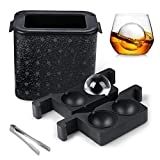 Ice Cube Tray, Crystal-clear Ice Ball Maker for 2 Large Sphere Ice Balls, Ice Cube Mold with Tong...
