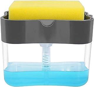 FIEMACH スポンジホルダー スポンジ置き ソープディスペンサー たわし入れ 頑丈 使いやすい 安定 キッチン用 収納(スポンジ付き) (グレー)