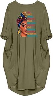 JiaMa Black Woman Beautiful Magic Long Sleeve Loose Pocket Oversize Tunic Dress