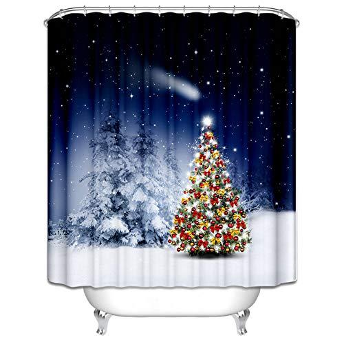 Amody Badvorhang Fenster Weihnachtsbaum in der Nacht Duschvorhang Abwaschbar Bunt Duschvorhang für Badewannen 180x200CM
