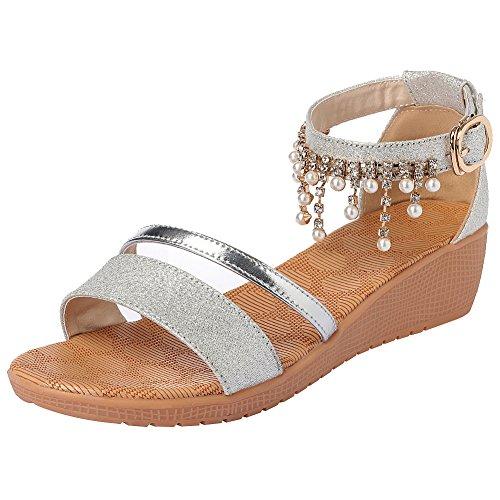 rismart Mujer Tobillo Botón Tacón De Cuña Verano Romántico Brillo Espumoso Sandalias Zapatos SN02368(Plateado,EU39)