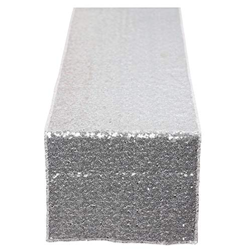 N&Y HOME Silver Sequin Table Runner 12x72 inch, Glitter Sequin Runner for Wedding, Birthday, Party, Baby Shower Decorations, Celebrations and Events