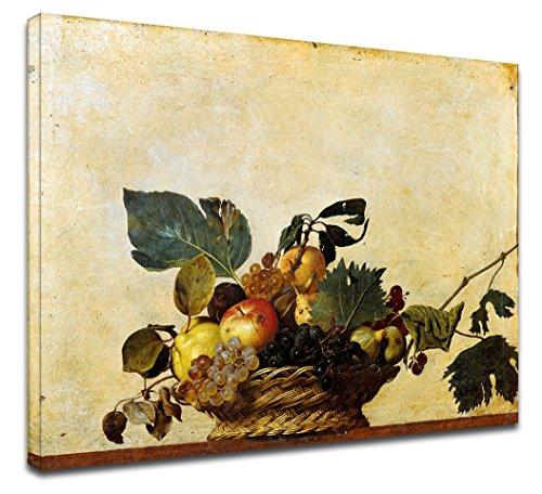 Quadro Moderno La canestra di frutta di Caravaggio - natura morta Michelangelo Merisi - Quadro stampa su tela canvas con o senza telaio (QUADRO CON TELAIO IN LEGNO, CM 60X47)