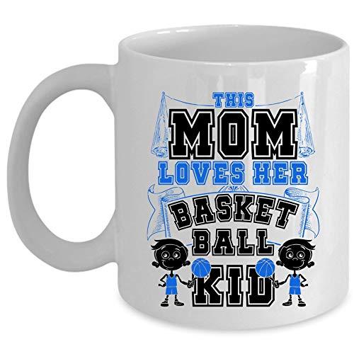 N\A Lindo Regalo para la Taza de café del día de la Madre, Esta mamá ama su Taza de Baloncesto para niños (Taza de café - Blanco)