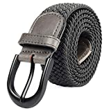 Mile High Life Cinturón elástico elástico trenzado con pasador ovalado Hebilla completa de cuero negro con hombre/mujer / extremo júnior (Gris, X-Large 101cm-106cm (121.5cm de largo))
