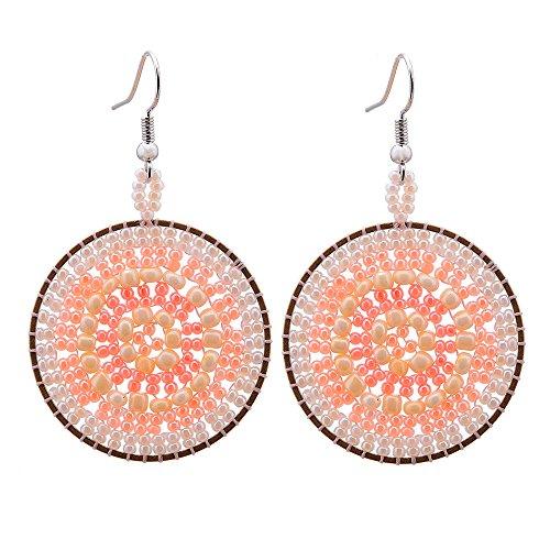 CheersLife Damen Ohrstecker Ohrringe Frauen Boho Modeschmuck Handgemachte Runde Mehrfarbige Samen Geschenke für Ihre Tropfen Baumeln Perlen Ohrringe für Frauen