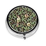 William Morris Runde Pillendose mit Vogelmotiv und Granatapfel aus Metall, klein, rund...