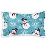Rurutong - Federa per cuscino, motivo pupazzo di neve, in pile corallo, stampa su un lato, per letto, divano, divano, federa quadrata per casa, auto, 20 x 12
