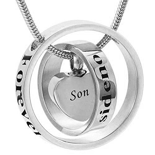 K.W WK No Longer by my Side,Forever in my Heart Tallado medallón de cremación urna Collar para mamá y papá