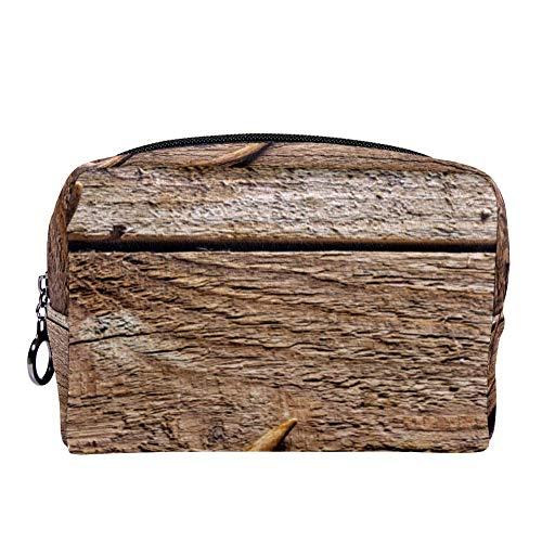 Trousse multifonction en bois de cerf à angle élevé sur bois rustique pour maquillage, cosmétiques, cosmétiques, trousse de toilette portable pour voyage, Couleur 01, 7x3x5in