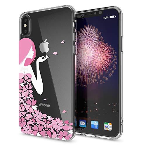 NALIA Cover compatibile con iPhone X XS, Custodia Protezione Silicone Trasparente Sottile Case, Gomma Morbido Cellulare Slim Protettiva Bumper Guscio, Designs:Flower Princess