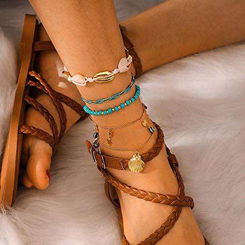 U/N Juego de Tobilleras de Bohemia de Color Dorado para Cuentas, Pulsera de Tobillo de Moda, joyería de Playa Femenina