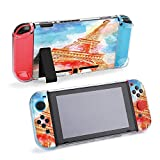 SUPNON Eiffel Tower Watercolor Illustration, Artwork Protective Case Compatible with Nintendo Switch Soft Slim Grip Cover Shell for Console & Joy-Con with Screen Protector, Thumb Grips Design26925