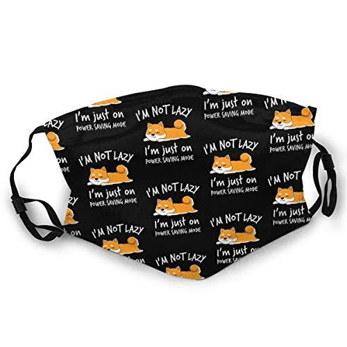 YYTT8 Gesichtsschutz Mundschutz I 'M Lazy Shiba Inu Shirt Loafer Hund Faulheit Mädchen Frau Socken Staubdichter Kopfschmuck Mit Austauschbaren Filtern
