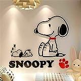 pegatina de pared pegatinas decorativas pared Perro de dibujos animados de Snoopy para la decoración del hogar del dormitorio para la habitación de los niños de la guardería