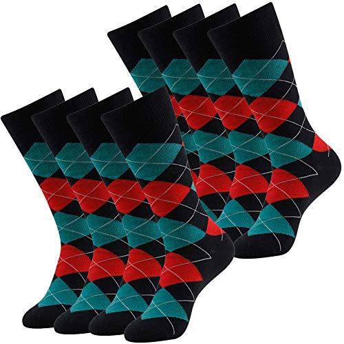 LANDUNCIAGA Men's Cotton Dress Socks 4 Pack Funky Colorful Crew Socks Fashion Patterned Fun Striped Argyle