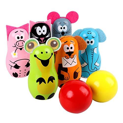WyaengHai Bowling Spielzeug Bowling Kinderholzspiel Schönen Innen- Und Außen Einstellungen Tierfreunde Bowling-Spiel Set Kinder Sechs Holzdübeln Und 2 Tore Bowling Set (Color, Size : 8 * 4.5cm)