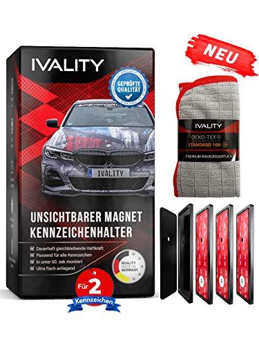 Ivality® Kennzeichenhalter Rahmenlos - Hochwertiger Magnet Kennzeichenhalter/Nummernschildhalterung Auto (für 2X Kennzeichen)