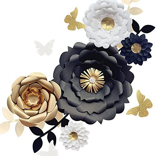 Houpoo 3D NO DIY Paper Flower Decoraciones (Juego de 13 Blanco Negro Dorado) Flores Gigantes de Papel para telón de Fondo de Boda Fiesta de graduación Despedida de Soltera Centros de Mesa de Boda