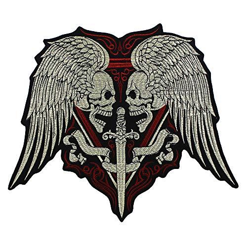 EMDOMO Aufnäher mit Totenkopf-Flügeln, Schwert zum Aufbügeln, für Motorrad, Biker, Weste, Jacke, Rückseite, 1 Stück