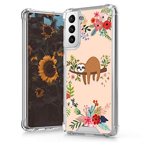 MOWIME Samsung Galaxy S21 5G Case (2021) 6.2 Inch Clear Sloth Flower Design 4 Air-Guard Corners Shockproof Anti-Fall Slim Fit Soft Edges Thin Hard PC + Flexible TPU Frame for Women Girls Man