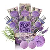 Relaxing Bath Gift Set for Women - Lavender and Rosemary Aromatherapy Basket at Home Spa Kit – Mothers day Birthday Holiday Gift Ideas for Mom - 13 Pack with Bubble Bath Bombs Show Gel Body Lotion