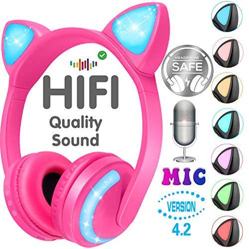 GBD Wireless Cat Ear Kids Headphones with Microphone Boys Girls Children Birthday Gifts Earphone 85dB Volume Control On Over Ear Bluetooth Game Headset Phone Tablet Pad School Travel (Pink)