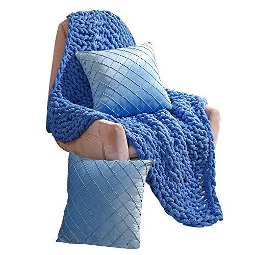 Life Tools Grobe, handgestrickte, atmungsaktive Chenille-Decke, luxuriös, superweich und gemütlich für Couch Bett (127 x 152,4 cm) mit einem Paar dekorativer Samt-Kissenbezüge (50,8 50,8 (Arctic Blue)