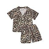 Toddler Baby Boys Girls Leopard Pajamas Set Cotton Shirt Top Pants Nightwear 2PCS Sleepwear Clothes Set (Short Leopard,3-4T)