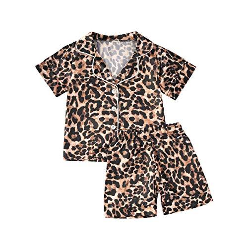 2 Piezas Pijamas de Niñas Pijama de Algodón con Estampado de Leopardo Camiseta Unisex de Manga...