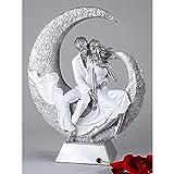Escultura Moderna y exclusiva de Pareja en la luna, de cerámica, blanco/plata, Altura 40cm