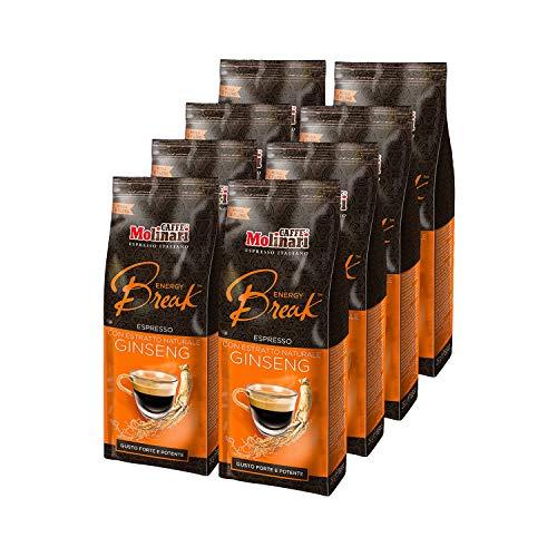 Caffè Molinari® Preparato a Base di Miscela di Caffè Macinato - per Bevanda al Caffè, con Estratto Naturale di Ginseng (Confezione da 8 sacchetti da 250gr)
