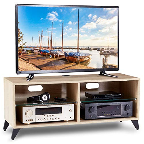 RFIVER Fernsehtisch Tisch für Fernseher 110cm Vinyl-Plattenaufbewahrung Fernsehschrank TV Tisch Lowboard Board Couchtisch Möbel Holz in Eiche TS4001