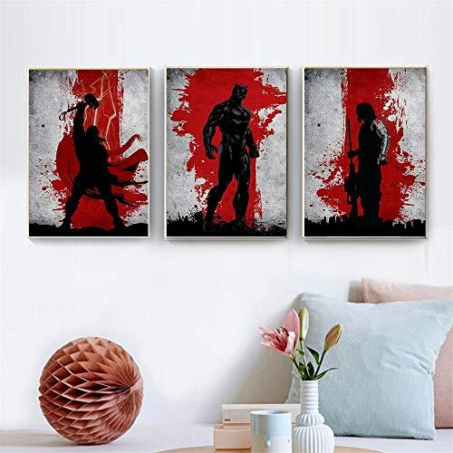 Abstrakte malerei schwarz und rot leinwand filmplakat Anime bat riesenheld Poster und drucke Wohnzimmer Dekoration rahmenlose malerei 60X80 cm
