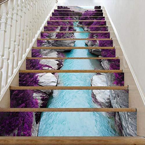 Byrhgood 13 unids escaleras extraíbles Pegatina Paso Autoadhesivo Azulejos de cerámica PVC Stair Papel Tapiz Papel Papel Calcomanía Vinilo Escalera Decoración del hogar (Color : 39B)