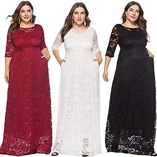 Extaum Women Plus Size Lace Maxi Dress 3/4 Sleeve Pocket Slim Elegant Party Long Dress White/Black/Burgundy