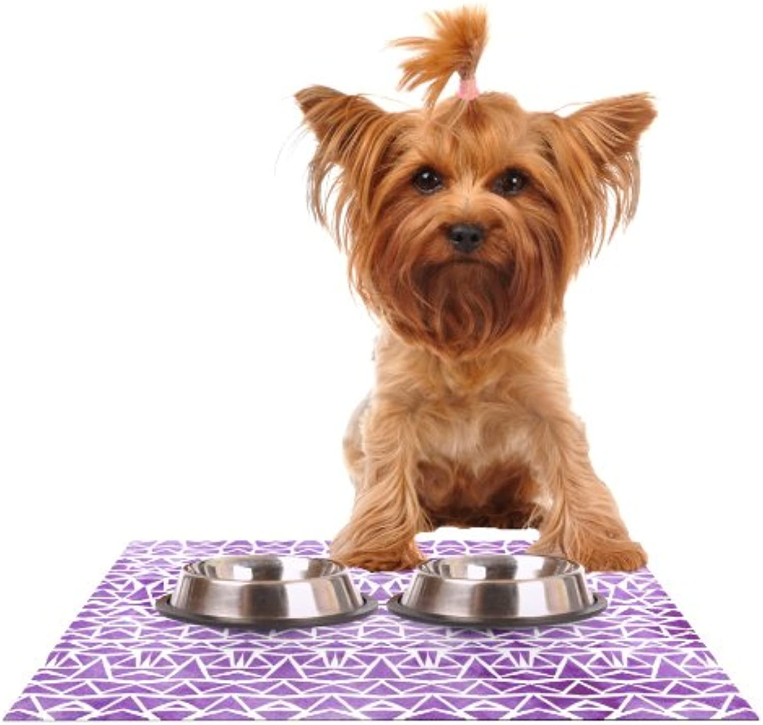 Kess InHouse Pom Graphic Design Tribal Mosaic  Feeding Mat for Pet Bowl, 24 by 15Inch