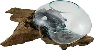 Zeckos Glass On Teak Driftwood Hand Sculpted Molten Bowl/Plant Terrarium