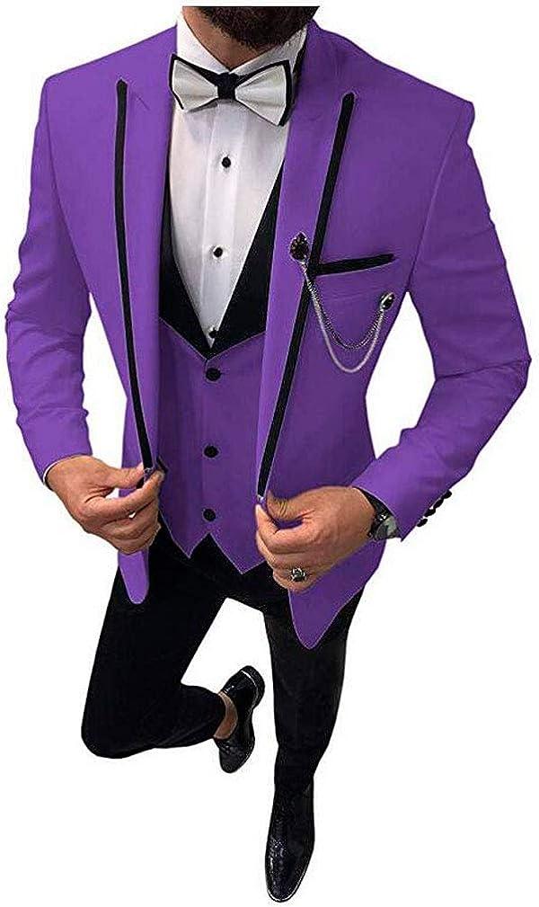 Men's 3 PC Peak Lapel Suits for Wedding Slim Fit One Button Jacket Vest Pants Prom Tuxedos