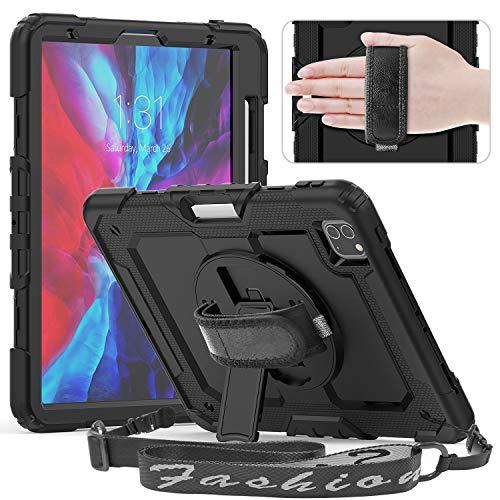 Timecity - Funda para iPad Pro 11 2020 y 2018, Resistente a los Golpes, con Protector de Pantalla, Soporte Giratorio, Correa de Mano/Hombro y Soporte para lápiz para iPad Pro 11 2020 Negro Negro
