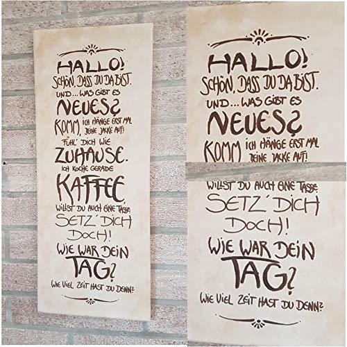 Hallo! Schön das du da bist! Anfertigung nach ihren Wünschen/frei Hand gestaltet/Familienname/Persönliches Geschenk/Willkommen/Spruch/Freunde/Nachbarn/Kaffee/Haare
